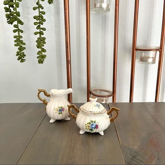 Vintage Enesco Miniature Floral Creamer Sugar Bowl
